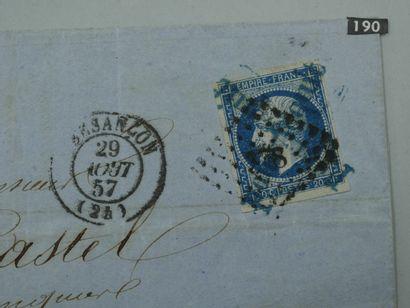 """France n°14 oblitéré avec griffes bleues """"pour Acquit"""" en croix sur lettre de la..."""