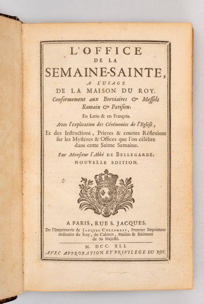 OFFICE DE LA SEMAINE SAINTE. Paris, Collombat, 1741. In-8, maroquin rouge, large...