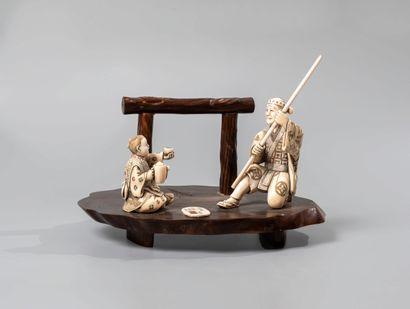 JAPON, XXè siècle. Composition impliquant...