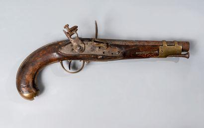 Pistolet de marine espagnol, à silex transformé...