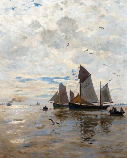 Gustav WENDLING (1862-1932). Bateaux de pêche,...
