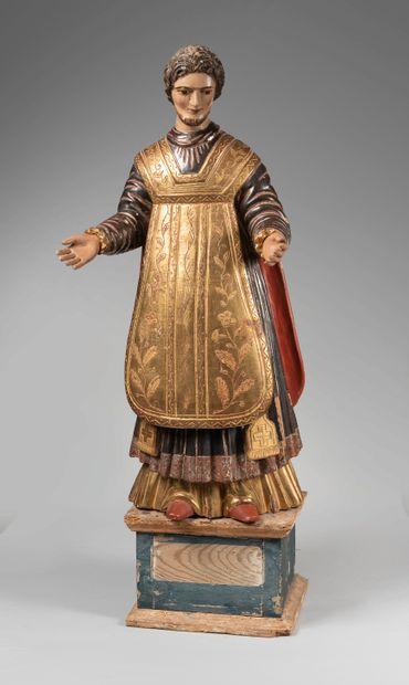 Importante sculpture en bois polychrome et...