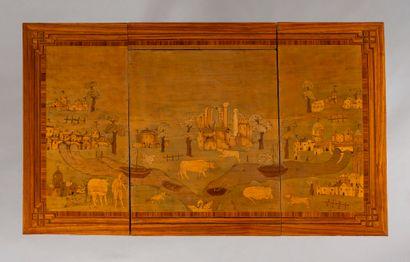 Coiffeuse en bois de placage marqueté de scènes champêtres et de paysages avec villages,...
