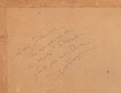 Théophile Alexandre STEINLEN (1859-1923). Le coq. Fusain sur papier. Cachet du monogramme...