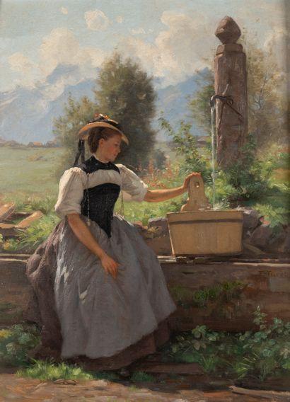 François FURET (1842-1919). Jeune femme à...