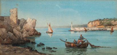 César MASCARELLI (1845-1904). Pêcheurs en...