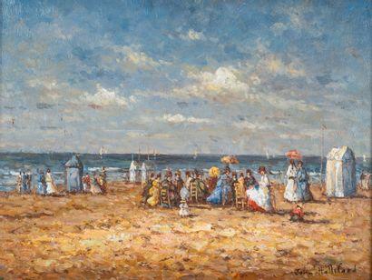 John HALLIFORD (Xxè siècle). Scène de plage...