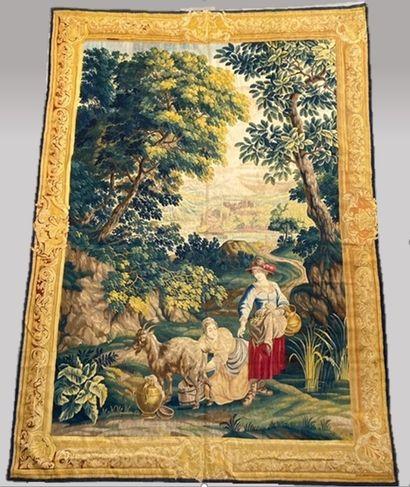 Importante et très fine tapisserie en laine...