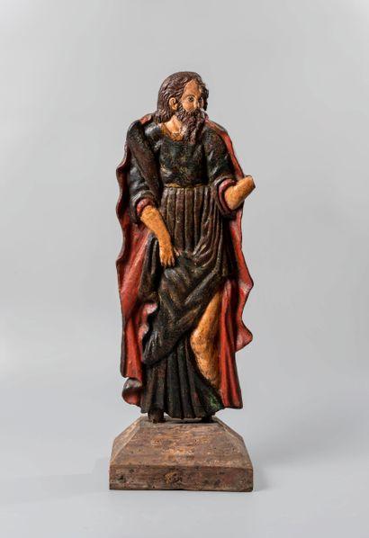 Sculpture « crêpe » en bois polychrome présentant...