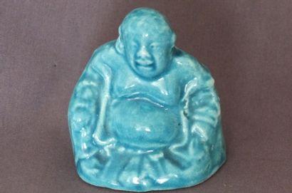 Sujet en porcelaine émaillée bleu représentant...