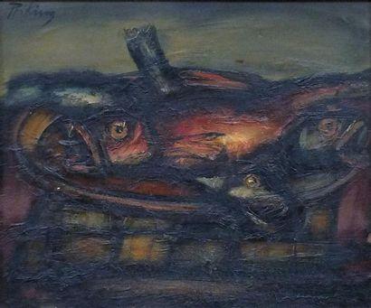 PRIKING Frantz- (1929-1979) Le panier de poissons- Huile sur papier marouflée sur...