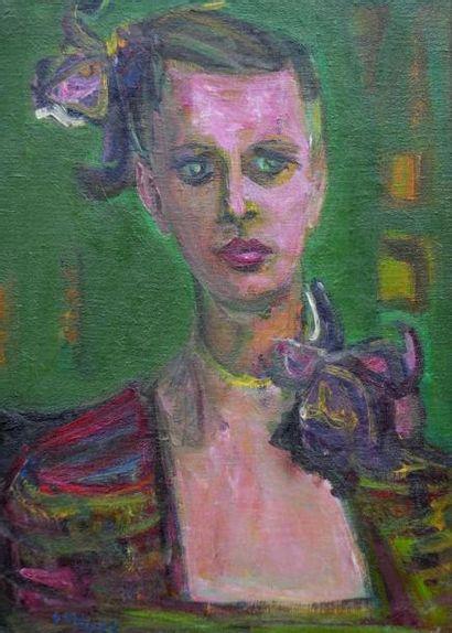 ALDE Yvette ??-( 1911-1967) Portrait de femme...