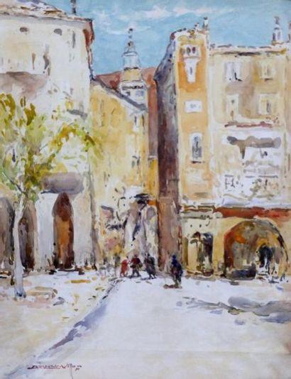 CHAMBART VILLON (1899-1912). Paysage orientaliste. Aquarelle et gouache. Signée...