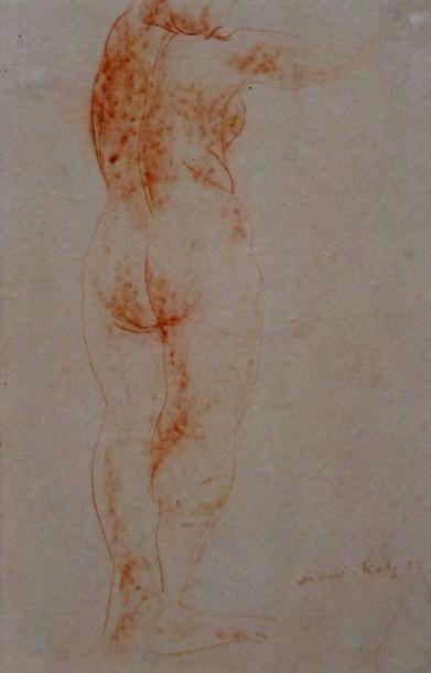MANE Katz Emmanuel – (1894-1902) attribué à - Nu féminin de dos- Dessin à la sanguine-...