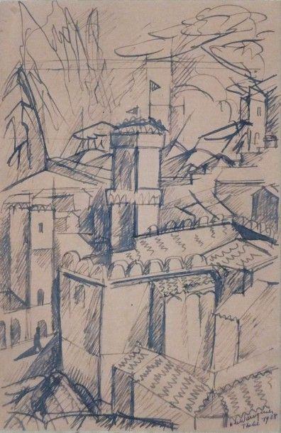 WAROQUIER Henri de. Paysage d'Italie- Dessin...