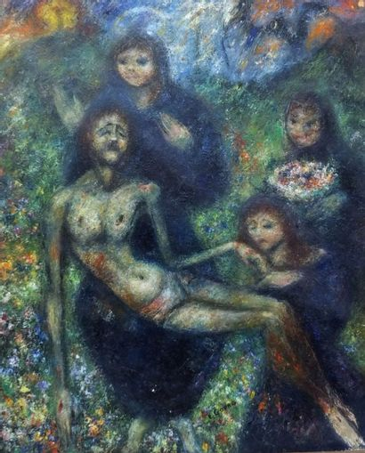 GOERG Edouard 1955 - Le christ mort- Huile...