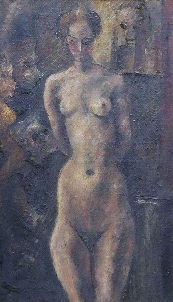 GOERG Edouard - Modèle dans l'atelier sous les regards- Huile sur toile – signée...