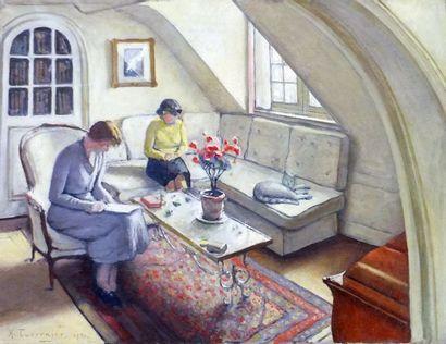TAVERNIER Henry- Femmes au chat dans un intérieur- Huile sur toile signée en bas...