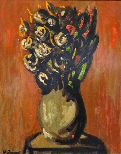 VIGNY Sylvain- (1902-1970) Bouquet sur un entablement- Huile sur carton- signée...