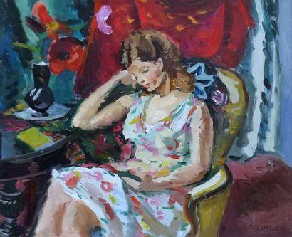 CORNU Pierre (1895-1996) - Femme lisant dans...