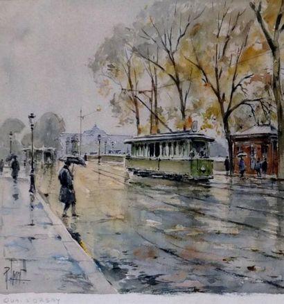 LEVERD René. Le quai d'Orsay- Gouache signée et située en bas à droite 19X18cm