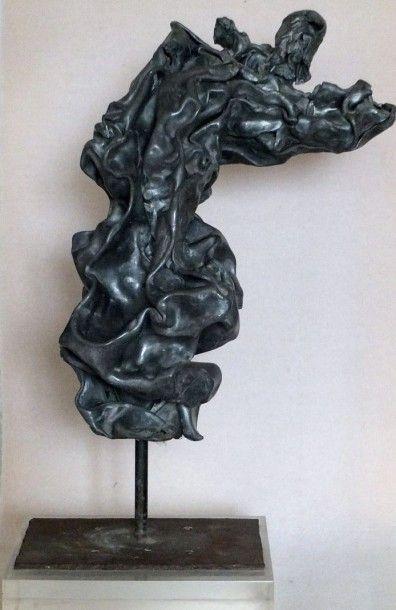 ACKERMAN Alain -Douleur- Sculpture en plomb sur socle - Hauteur 58 largeur 32 c...