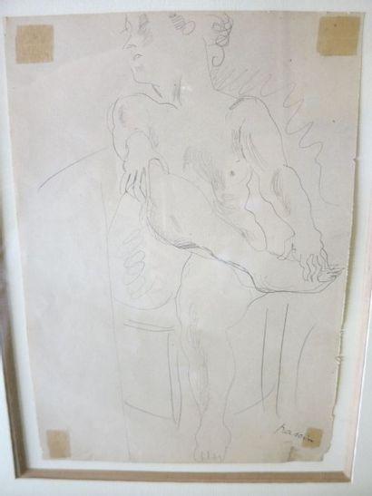 """PASCIN Jules (1885-1930) - """"Femme nue assise"""" - Dessin signé en bas à droite (Trace..."""