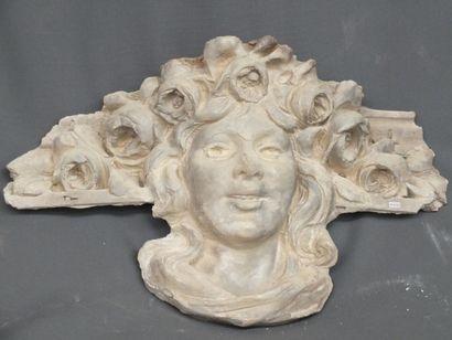 Tête de femme Ancien décor sculpté en plâtre...