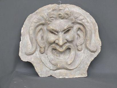 Tête de satyre à cornes - Ancien décorsculpté...