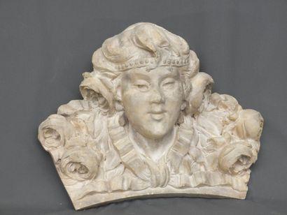 Tête de femme aux feurs - Ancien décor sculpté...