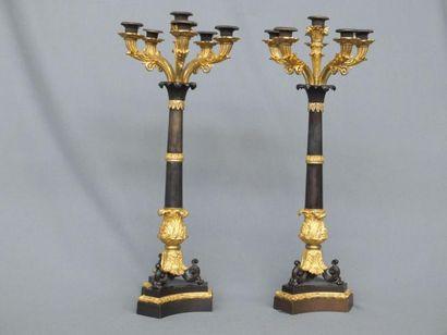 Paire de candélabres à six lumières en bronze doré et en bronze patiné sculptés...