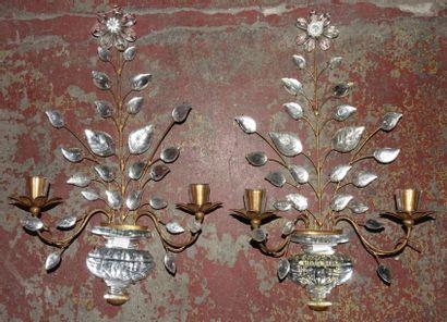 Maison Baguès - Paire d'appliques en bronze...