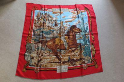 """HERMES Paris made in France. Carré en soie imprimée titré """"The Pony Express"""", marge..."""