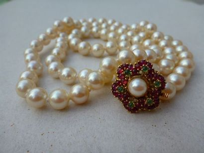 collier de perles chocker, 84 perles de culture...