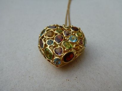 1 pendentif Coeur + chaine maille forcat...