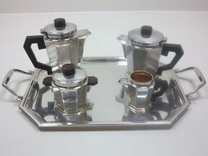 Service à thé- café 5 pièces en métal argenté...