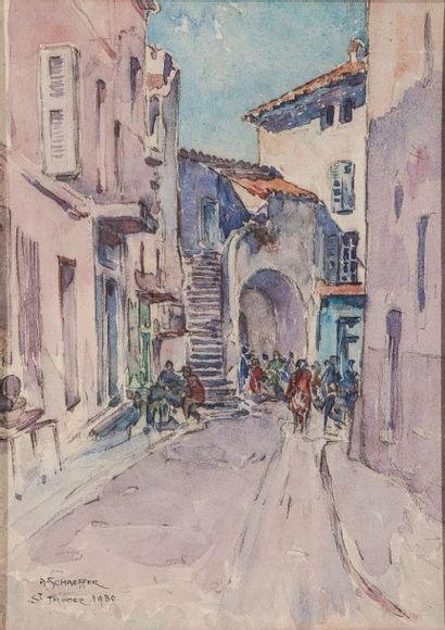 """SCHAEFFER A. - """"SAINT TROPEZ"""" - 1930 - Aquarelle Signée en bas à gauche 34x25"""