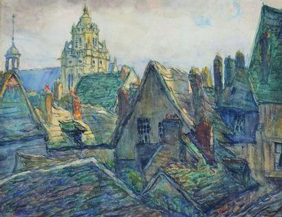 """TRUFFAUT Fernand Fortuné (1866-1955) - """"GISORS UN VIEUX TOIT"""" Aquarelle signée en..."""