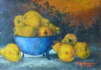 """CLEMENT Charles (Peintre suisse) - """"NATURE MORTE AUX POIRES"""" Huile sur toile - Signée..."""