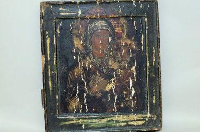 Vierge à l'enfant- Icône- Huile sur bois- 31,5x28,5x3.5cm- Russie XIXème ? - mauvais...