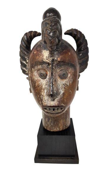 Haut de cimier IDOMA La coiffure élaborée domine une face concave à la bouche entr'ouverte,...