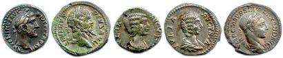 Lot de cinq (5) deniers romains en argent