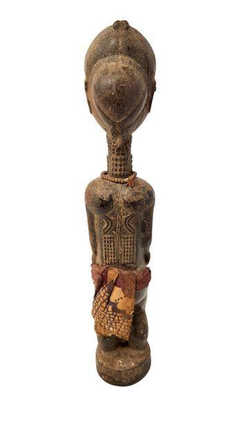 Statuette Baoulé Pagne de tissus, collier de perles H : 38 cm. Provenance : Ancienne...