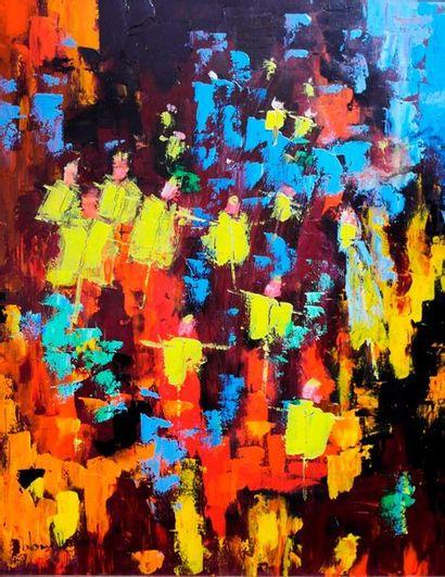 """RUBINAT Antoine """"Sans titre"""" Acrylique sur toile 80 x 100 signée.    Frais de transport..."""