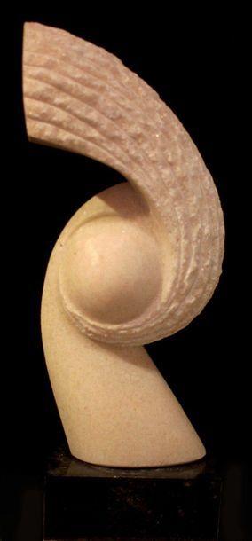 "SAVA Marian ""Cocorico"" Marbre rose 58 x 23 x 10 cm de 2014 Taille directe signé...."