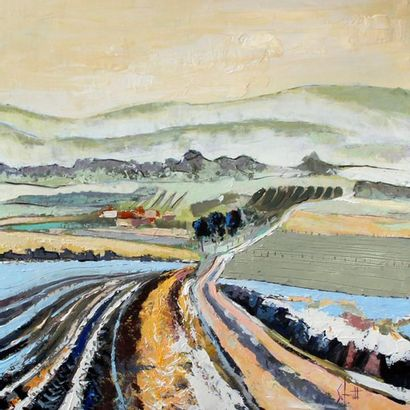 """SCHMITT Jean-Paul """"Paysage d'hiver II"""" Acrylique au couteau sur toile 80 x 80 cm..."""