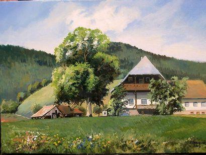 """SCHOULER Robert """"Ferme environs de Nordrach""""  Huile sur toile 64 x 46 cm encadrée..."""