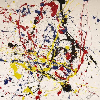 """SERVANT Ermes """"Particules quantiques"""" Acrylique sur toile 60 x 60 cm fond neutrinos..."""
