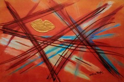 """TOUFET Martine """"Il sorriso dii dio"""" technique mixte sur toile 115 x 75 cm signée..."""