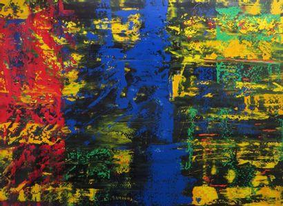 """URVOAZ Annick """"Reflet d'or"""" Acrylique sur toile 97 x 130 cm signée.    Frais de transport..."""